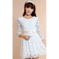 蕾丝连衣裙  韩版连衣裙  白色连衣裙