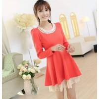 模特实拍2013新款秋装韩版修身泡泡袖长袖大码蕾丝连衣裙