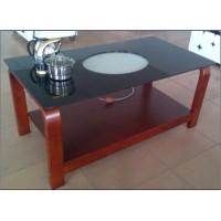 2014年家具展*热销红色实木+钢化玻璃智能茶几