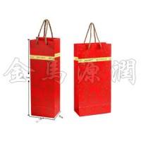 红色金边纸质红酒袋