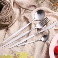 不锈钢刀叉勺 经典GOA白柄银色 Leon系列 高档西餐刀叉