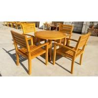 广州易居批发户外休闲套椅实木家具咖啡厅休闲桌椅餐厅实木桌椅