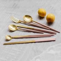银貂 樱花粉304不锈钢刀叉西餐餐具葡萄牙北欧外贸家居